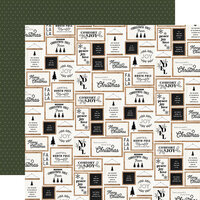 Carta Bella Paper - Farmhouse Christmas Collection - 12 x 12 Double Sided Paper - Christmas Signs