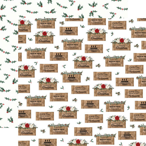 Carta Bella Paper - Farmhouse Christmas Collection - 12 x 12 Double Sided Paper - Crates