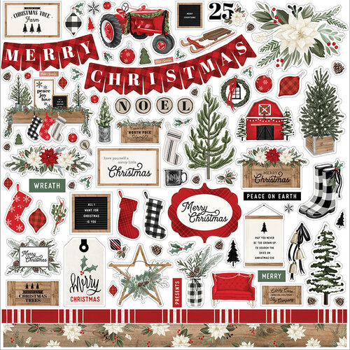 Carta Bella Paper - Farmhouse Christmas Collection - 12 x 12 Cardstock Stickers - Elements