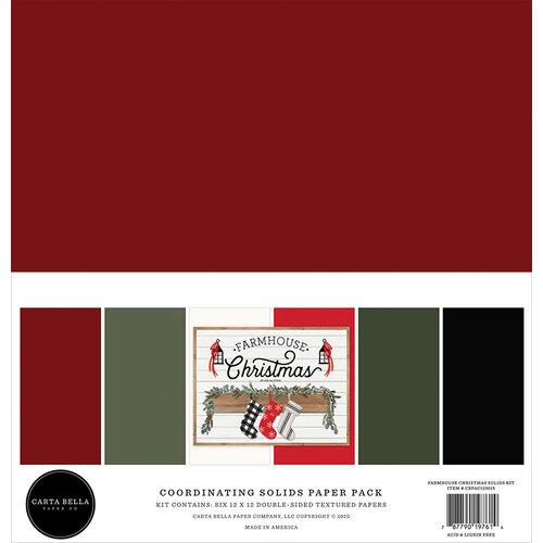 Carta Bella Paper - Farmhouse Christmas Collection - 12 x 12 Paper Pack - Solids