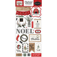 Carta Bella Paper - Farmhouse Christmas Collection - Chipboard Stickers - Phrases