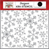 Carta Bella Paper - Farmhouse Christmas Collection - 6 x 6 Stencil - Merry Snowflakes
