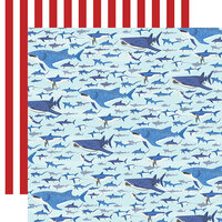 Carta Bella Paper - Fish Are Friends Collection - 12 x 12 Double Sided Paper - Shark Swim