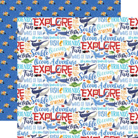 Carta Bella Paper - Fish Are Friends Collection - 12 x 12 Double Sided Paper - Ocean Words