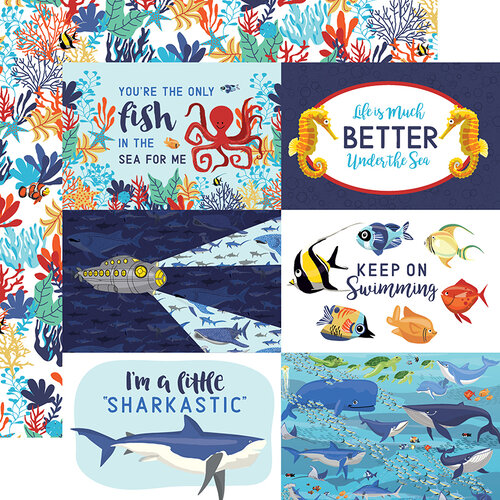 Carta Bella Paper - Fish Are Friends Collection - 12 x 12 Double Sided Paper - 4 x 6 Journaling Cards