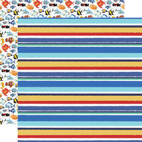 Carta Bella Paper - Fish Are Friends Collection - 12 x 12 Double Sided Paper - Sea Stripes
