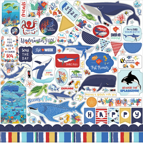 Carta Bella Paper - Fish Are Friends Collection - 12 x 12 Cardstock Stickers - Elements