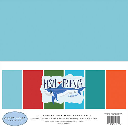 Carta Bella Paper - Fish Are Friends Collection - 12 x 12 Paper Pack - Solids