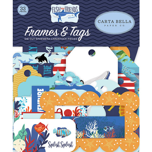 Carta Bella Paper - Fish Are Friends Collection - Ephemera - Frames and Tags