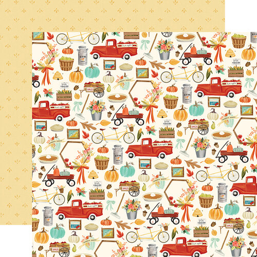 Carta Bella Paper - Fall Market Collection - 12 x 12 Doubled Sided Paper - Happy Harvest