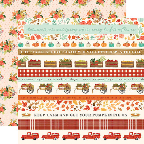 Carta Bella Paper - Fall Market Collection - 12 x 12 Doubled Sided Paper - Border Strips