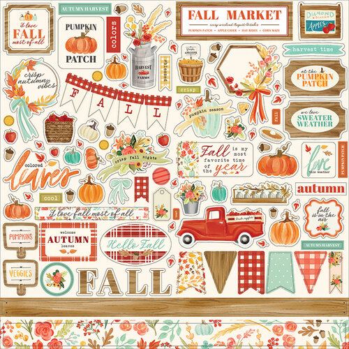 Carta Bella Paper - Fall Market Collection - 12 x 12 Cardstock Stickers - Elements