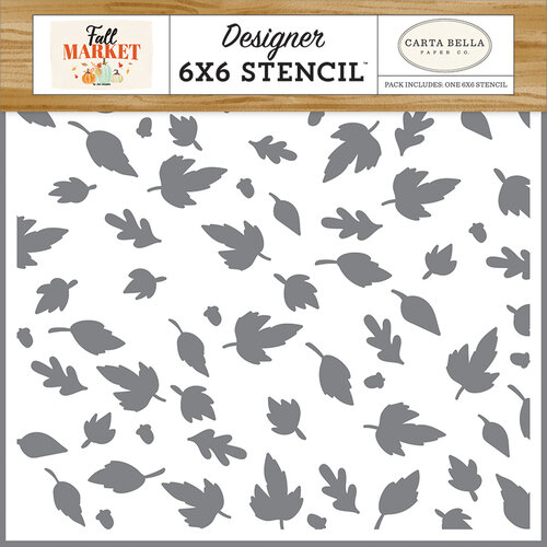 Carta Bella Paper - Fall Market Collection - 6 x 6 Stencil - Autumn Breeze Leaves