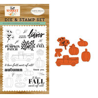 Carta Bella Paper - Fall Market Collection - Designer Die and Clear Photopolymer Stamp Set - Autumn Harvest