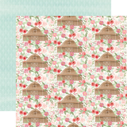 Carta Bella Paper - Farmhouse Market Collection - 12 x 12 Double Sided Paper - Barn Floral