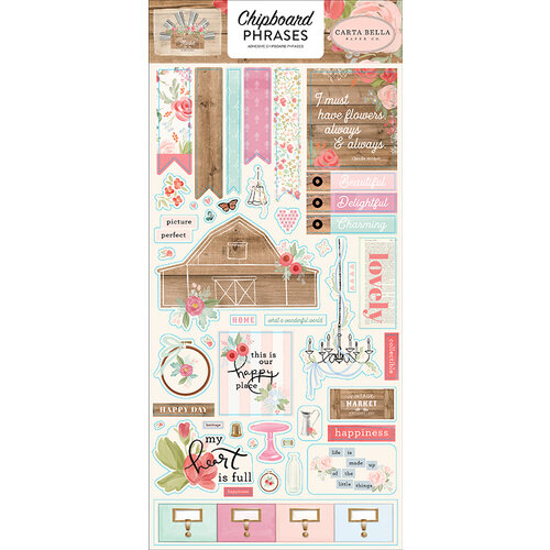 Carta Bella Paper - Farmhouse Market Collection - Chipboard Stickers - Phrases