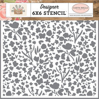 Carta Bella Paper - Farmhouse Market Collection - 6 x 6 Stencil - Garden Bloom