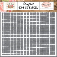 Carta Bella Paper - Farmhouse Market Collection - 6 x 6 Stencil - Vintage Grid