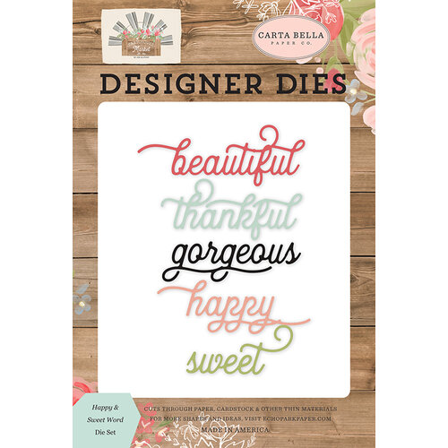 Carta Bella Paper - Farmhouse Market Collection - Designer Dies - Happy and Sweet Word