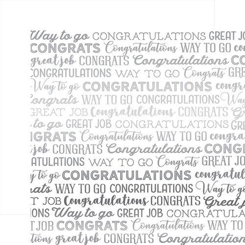 Carta Bella Paper - Congrats Silver Foil Collection - 12 x 12 Paper - White