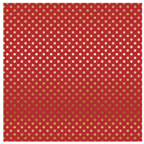 Carta Bella Paper - Dots and Stripes Collection - Gold Foil - 12 x 12 Paper with Foil Accents - Red