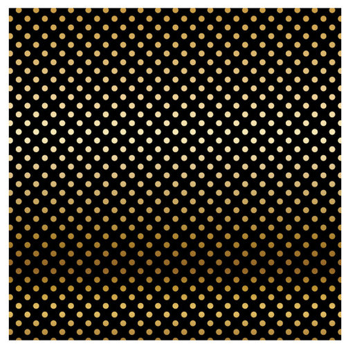 Carta Bella Paper - Dots and Stripes Collection - Gold Foil - 12 x 12 Paper with Foil Accents - Black
