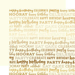 Carta Bella Paper - Happy Birthday Gold Foil Collection - 12 x 12 Double Sided Paper - Cream