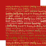 Carta Bella Paper - Happy Birthday Gold Foil Collection - 12 x 12 Double Sided Paper - Red