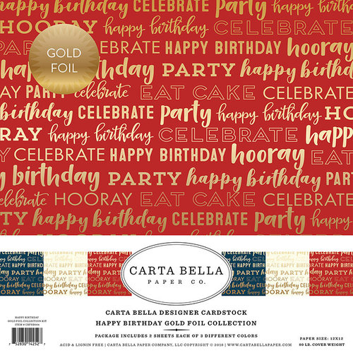 Carta Bella Paper - Happy Birthday Gold Foil Collection - 12 x 12 Collection Kit