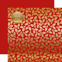 Carta Bella Paper - Holly and Berries Gold Foil Collection - 12 x 12 Double Sided Paper - Red