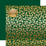 Carta Bella Paper - Holly and Berries Gold Foil Collection - 12 x 12 Double Sided Paper - Green