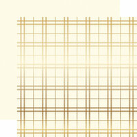Carta Bella Paper - Holiday Plaid Gold Foil Collection - Christmas - 12 x 12 Paper with Foil Accents - Cream
