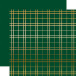 Carta Bella Paper - Holiday Plaid Gold Foil Collection - Christmas - 12 x 12 Paper with Foil Accents - Green