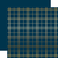 Carta Bella Paper - Holiday Plaid Gold Foil Collection - Christmas - 12 x 12 Paper with Foil Accents - Navy