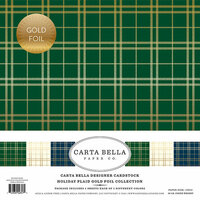 Carta Bella Paper - Holiday Plaid Gold Foil Collection - Christmas - 12 x 12 Collection Kit