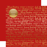 Carta Bella Paper - Holiday Sentiments Gold Foil Collection - 12 x 12 Double Sided Paper - Red