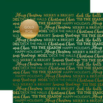 Carta Bella Paper - Holiday Sentiments Gold Foil Collection - 12 x 12 Double Sided Paper - Green