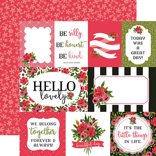Carta Bella Paper - Flora No 1 Collection - 12 x 12 Double Sided Paper - Rose Garden Journaling Cards