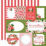 Carta Bella Paper - Flora No 1 Collection - 12 x 12 Double Sided Paper - Petunia Patch Journaling Cards