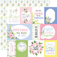 Carta Bella Paper - Flora No. 4 - 12 x 12 Double Sided Paper - Pastel Journaling Cards
