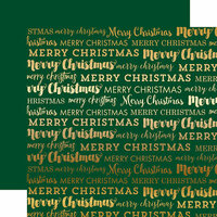 Carta Bella Paper - Merry Christmas Collection - 12 x 12 Double Sided with Foil Accents - Green