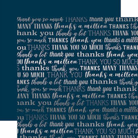 Carta Bella Paper - Many Thanks Silver Foil Collection - 12 x 12 Paper - Navy