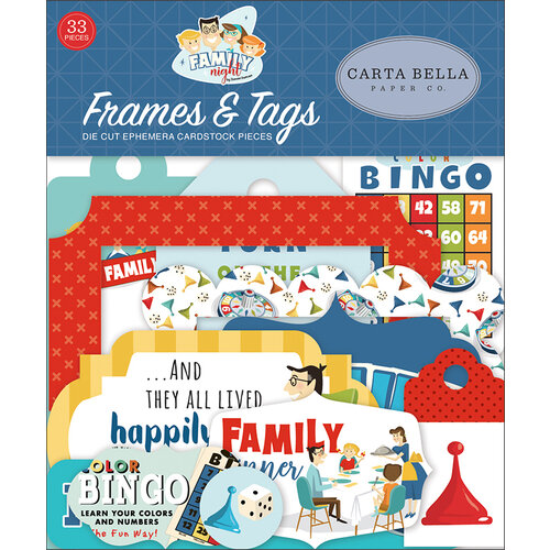 Carta Bella Paper - Family Night Collection - Ephemera - Frames and Tags