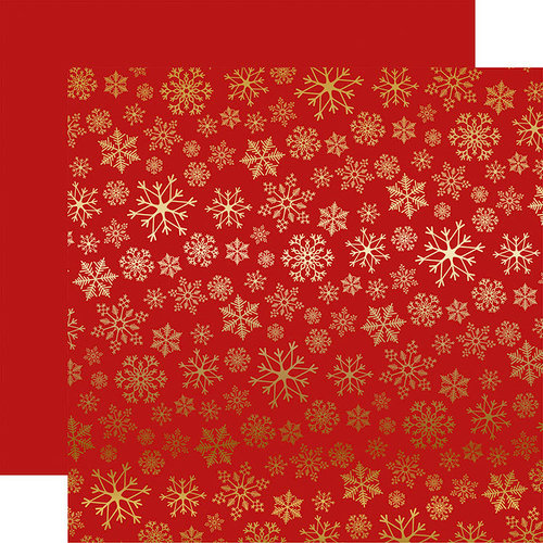 Carta Bella Paper - Snowflake Flurry Gold Foil Collection - Christmas - 12 x 12 Paper with Foil Accents - Red
