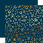 Carta Bella Paper - Snowflake Flurry Gold Foil Collection - Christmas - 12 x 12 Paper with Foil Accents - Navy
