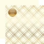 Carta Bella Paper - Seasonal Plaid Gold Foil Collection - 12 x 12 Double Sided Paper - Cream