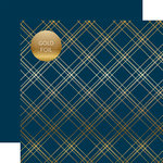 Carta Bella Paper - Seasonal Plaid Gold Foil Collection - 12 x 12 Double Sided Paper - Navy