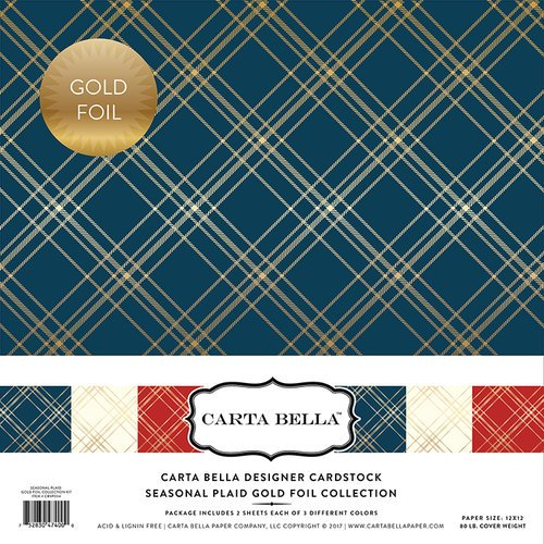 Carta Bella Paper - Seasonal Plaid Gold Foil Collection - 12 x 12 Collection Kit