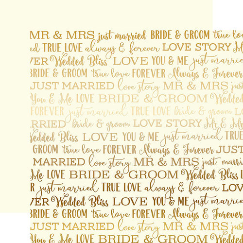 Carta Bella Paper - Love Story Gold Foil Collection - 12 x 12 Paper - Cream