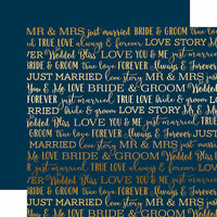 Carta Bella Paper - Love Story Gold Foil Collection - 12 x 12 Paper - Navy
